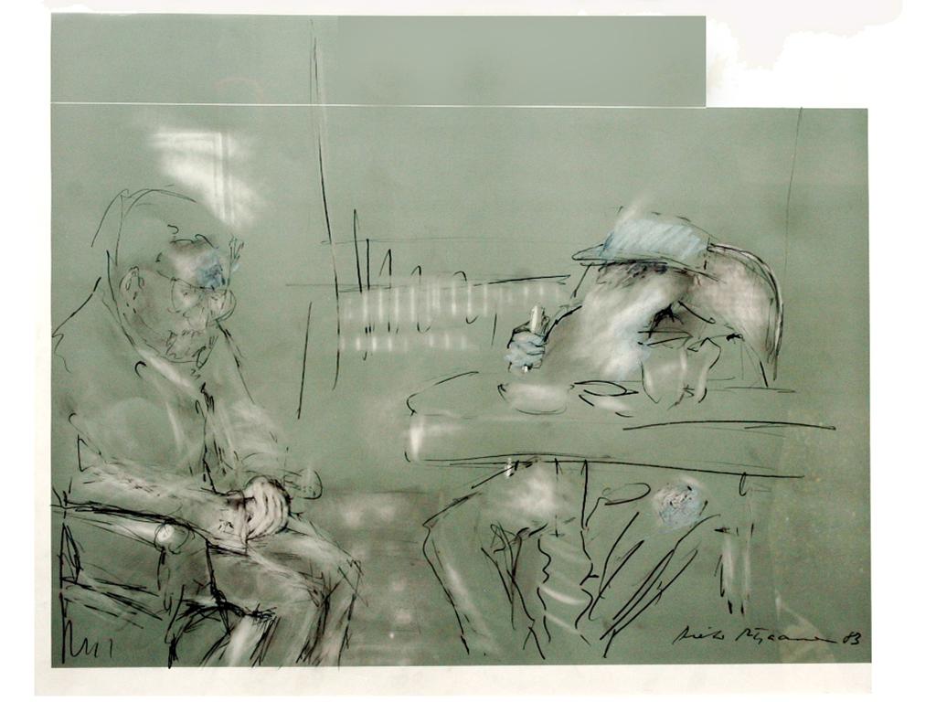 zwei Zustände – Zuversicht Begegnung zwischen Tolstoi und Tschechow 1903 auf der Krim Mischtechnik auf Leinwand 2014 50 x 70 cm